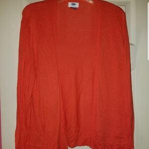 Open front red orange cardigan